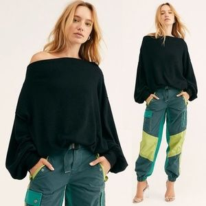 Free People Main Squeeze Hacci Off Shoulder Top